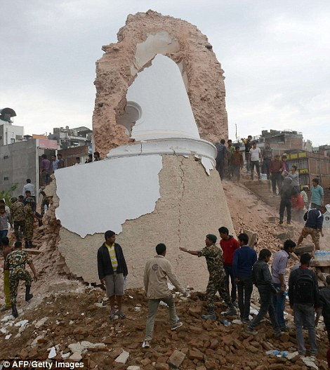 Before and after: The Dharahara Tower, one of Kathmandu's landmarks built by Nepal's royal rulers in the 1800s was reduced to rubble with reports of people trapped underneath