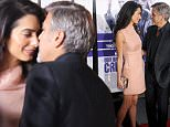 """HOLLYWOOD, CA - OCTOBER 26:  Actor George Clooney and wife Amal Clooney arrive at the premiere of Warner Bros. Pictures' """"Our Brand Is Crisis"""" at TCL Chinese Theatre on October 26, 2015 in Hollywood, California.  (Photo by Gregg DeGuire/WireImage)"""