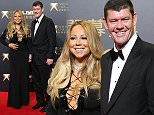 From right, Melco Crown Entertainment's Co-chairman, James Packer, singer Mariah Carey, Co-chairman and chief executive officer, Lawrence Ho and his wife Sharen Lo, pose on the red carpet of the opening ceremony for the Studio City project in Macau, Tuesday, Oct. 27, 2015. China's world-beating gambling hub is getting a taste of Hollywood glamor as its newest casino resort makes its debut on Tuesday with a glitzy grand opening that masks turmoil behind the scenes. (AP Photo/Kin Cheung)