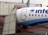 Interjet plane crashing into airport