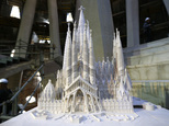 """A model of the Sagrada Familia Basilica designed by architect Antoni Gaudi is displayed at the Sagrada Familia Basilica in Barcelona, Spain, Wednesday, Oct. 21, 2015.  Barcelona's breathtaking La Sagrada Familia Basilica has begun its final phase of raising six immense towers. Presenting the project Thursday, chief architect Jordi Fauli said the central """"Tower of Jesus Christ,"""" the tallest of the six, will rise 172.5 meters (566 feet) high, making it """"the tallest religious building in Europe."""" (AP Photo/Manu Fernandez)"""