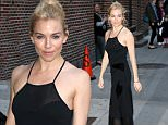 October 26, 2015: Sienna Miller Arrives at the Ed Sullivan theatre, wearing a black dress For 'The Late Show with Stephen Colbert' in New York City.\nMandatory Credit: T.Jackson/INFphoto.com ref: infusny-284