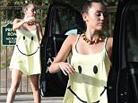 *** Fee of £100 applies for subscription clients to use images before 22.00 on 251015 *** EXCLUSIVE ALLROUNDERMiley Cyrus wears a yellow happy face dress to a private party Featuring: Miley Cyrus Where: Los Angeles, California, United States When: 25 Oct 2015 Credit: WENN.com