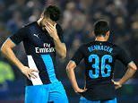 "Arsenal's Olivier Giroud (left) dejected at the restart with teammate Ismael Bennacer (right) after Sheffield Wednesday score their second goal during the Capital One Cup, Fourth Round match at Hillsborough , Sheffield. PRESS ASSOCIATION Photo. Picture date: Tuesday October 27, 2015. See PA story SOCCER Sheff Wed. Photo credit should read: Mike Egerton/PA Wire. RESTRICTIONS: EDITORIAL USE ONLY No use with unauthorised audio, video, data, fixture lists, club/league logos or ""live"" services. Online in-match use limited to 45 images, no video emulation. No use in betting, games or single club/league/player publications."