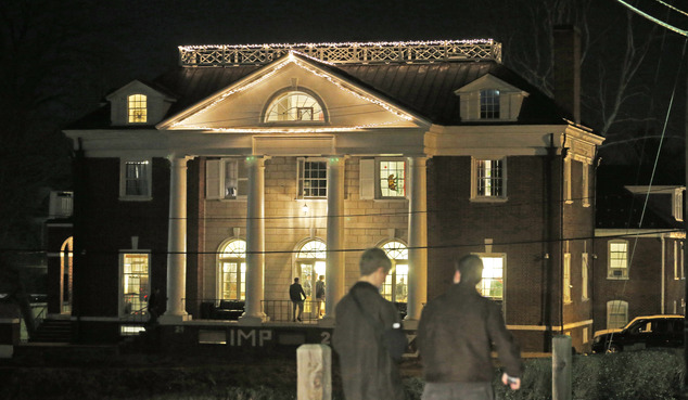 FILE - Students participating in rush pass by the Phi Kappa Psi house at the University of Virginia in Charlottesville, Va., in this Jan. 15, 2015 file photo...