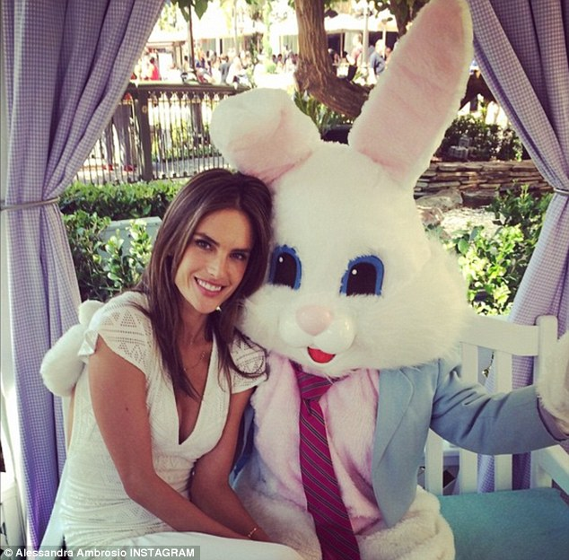 Bunny and the beauty: Alessandra Ambrosio shared a snap of herself with the Easter Bunny
