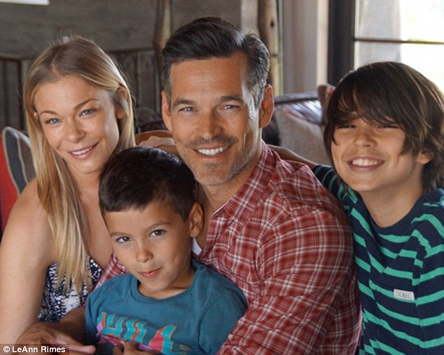 Family photo: LeAnn Rimes and husband Eddie Cibrian proudly posed with his sons Mason (aged 11) and Jake (aged seven)