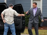 Richland County Sheriff Deputy Ben Fields departs for a meeting on his future dressed in a suit from his home at the Fairways Apartment complex October 28, 2015 in Columbia, SC. Fields is the officer involved in the brutal attack on a student at Spring Valley High School.