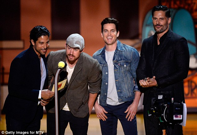 Too many clothes: Along with co-stars (from left to right) Adam Rodriguez, Channing Tatum, and Joe Manganiello, Matt and the others wore too many clothes to the MTV Movie Awards on April 12