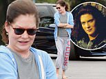 Picture Shows: Lara Flynn Boyle  October 28, 2015\n \n Puffy faced actress Lara Flynn Boyle is seen chatting with a friend while out and about in Brentwood, California. It appeared Lara was sporting a small baby bump under her grey t-shirt.\n \n Exclusive All Rounder\n UK RIGHTS ONLY\n FameFlynet UK © 2015\n Tel : +44 (0)20 3551 5049\n Email : info@fameflynet.uk.com