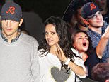 Please contact X17 before any use of these exclusive photos - x17@x17agency.com   Ashton Kutcher and wife Mila Kunis attend the Madonna concert atTthe Forum in Inglewood, CA as part of her Rebel Heart Tour. OCtober 2, 2015 X17online.com EXCLUSIVE