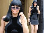 Kylie Jenner leaving in a dress ad a wig after the lunch to celebrate with Caitlyn who turns 66 tomorrow  27, 2015 X17online.com