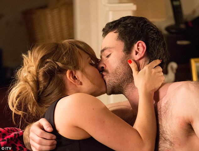 Passionate embrace: Sarah-Louise Platt (Tina O'Brien) shares a kiss with Callum Logan (Sean Ward) in Coronation Street scenes airing on Monday April 13