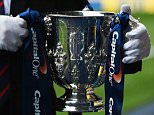 LONDON, ENGLAND - SEPTEMBER 23:  The League Cup trophy is carried prior to the Capital One Cup third round match between Tottenham Hotspur and Arsenal at White Hart Lane on September 23, 2015 in London, England.  (Photo by Tom Dulat/Getty Images)