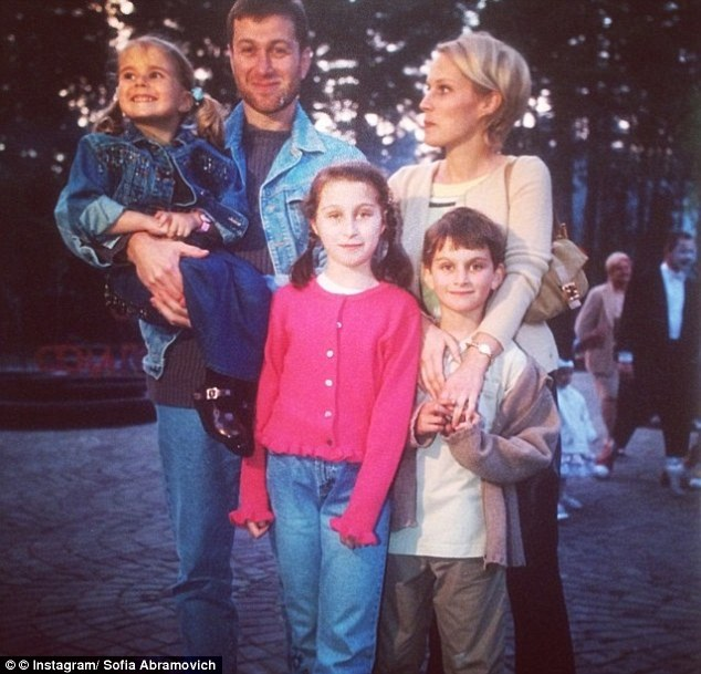 Sofia posted this happy family snap of her parents before the divorce and her older siblings Anna and Arkadiy