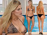 EXCLUSIVE ALL ROUNDER Ashley James shows off her amazing body and curves poolside in Ibiza. 14 October 2015. Please byline: Vantagenews.com