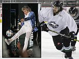 This photo taken Oct. 22, 2015, shows Liam Stewart, second from right, during practice for the Alaska Aces hockey team in Anchorage, Alaska. Stewart, the son of rock superstar Rod Stewart and supermodel Rachel Hunter, says he just wants to be treated as one of the guys. (AP Photo/Mark Thiessen)