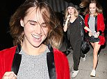 Hollywood CA - Suki Waterhouse is all smiles as she leaves a Halloween party at Lure Nightclub in Hollywood. The English/model actress looked ready for Halloween as she wore a red boxer's robe over a grey sweater and very short cut-offs. AKM-GSI         October 29, 2015 To License These Photos, Please Contact : Steve Ginsburg (310) 505-8447 (323) 423-9397 steve@akmgsi.com sales@akmgsi.com or Maria Buda (917) 242-1505 mbuda@akmgsi.com ginsburgspalyinc@gmail.com