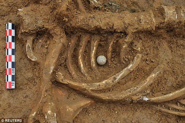 The musket ball that killed the young soldier was found lodged between his ribs at the Waterloo battlefield