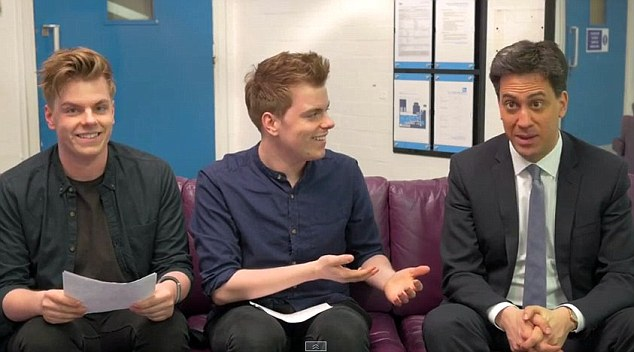 Ed Miliband being interviewed on YouTube by 'vloggers' Niki and Sammy, billed as 'hilarious twins' from Essex