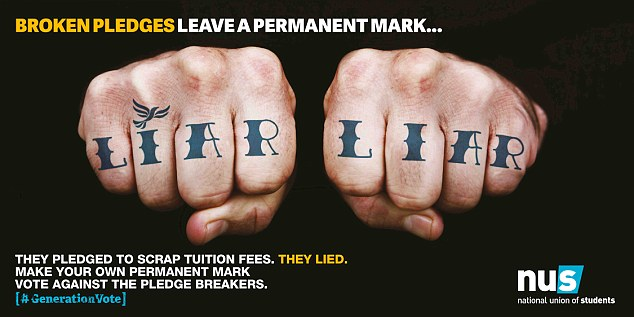 A picture paints a thousand words. The National Union of Students campaign posters cruelly remind Nick Clegg of his disastrous decision to U-turn on his pledge not to raise university tuition fees