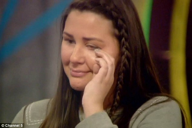 Hysterical: Chloe was upset when her best friend Danny revealed he was 'disappointed' in her decision to pocket £5k instead of adding it to the prize fund on Wednesday night's explosive Big Brother episode