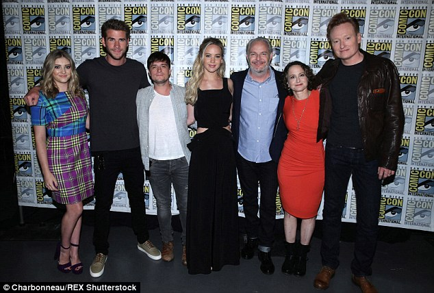 Group shot:Willow, Liam, Josh, Jennifer, Francis Lawrence, Nina Jacobson, and Conan O'Brien cosied up for The Hunger Games: Mockingjay, Part 2 presentation