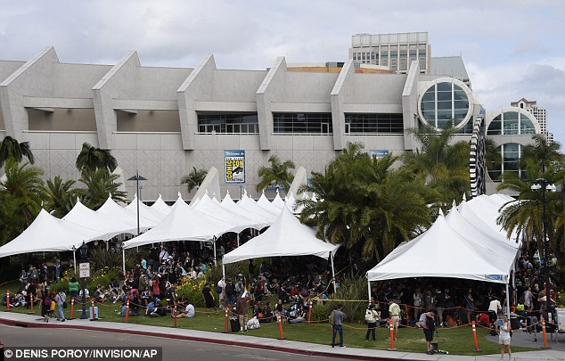 Living their dreams: Fans can be seen lining up outside of theSan Diego Convention Center on Thursday, hoping to see their favorite celebrities, just as Jennifer did