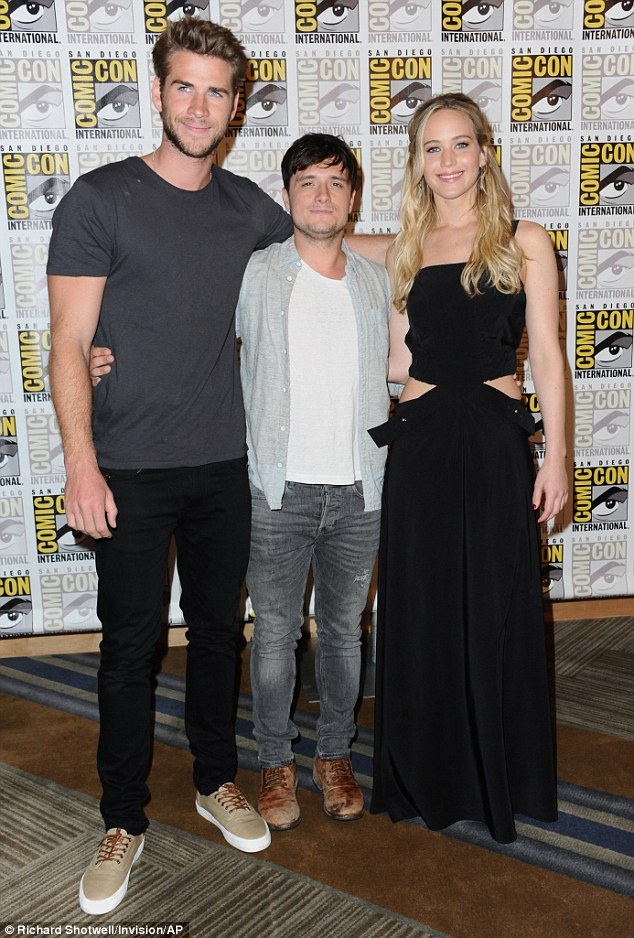 All together: This is likely an emotional Comic-Con visit for Liam, Josh Hutcherson, and Jennifer, as The Hunger Games: Mockingjay - Part 2 is the final film in the series