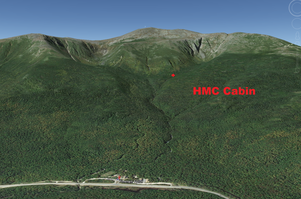 View of Pinkham Notch, HMC Cabin, Mt. Washington Summit. Cabin is about 2 miles from the highway and the AMC Hut, in proximity to Huntington Ravine.