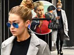 """Gigi Hadid in black tights a day after Halloween with her hair tied in a bun, makes her way to the gym wearing her initial sandals """"GI"""" on Sunday November 1st, 2015. \n\nPictured: Gigi Hadid\nRef: SPL1160962  011115  \nPicture by: Luis Yllanes / Splash News\n\nSplash News and Pictures\nLos Angeles: 310-821-2666\nNew York: 212-619-2666\nLondon: 870-934-2666\nphotodesk@splashnews.com\n"""