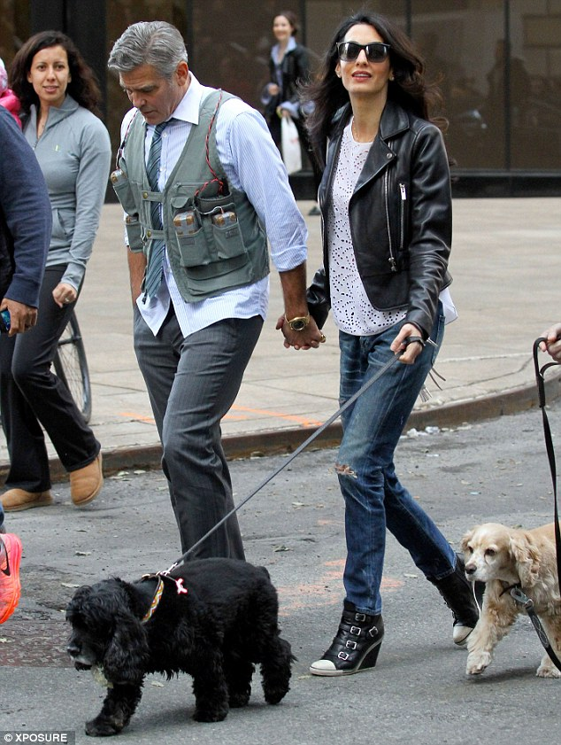 Animal lovers: Amal brought Einstein and Louie to visit George on the New York set of Money Monster in April