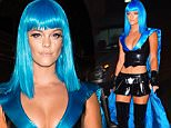 Nina Agdal and her boyfriend Reid were spotted attending Heidi Klum's Halloween Party in NYC. She dressed up as a sexy super hero with blue hair, and Reid dressed as Riff Raff\n\nPictured: Nina Agdal, Reid Heidenry\nRef: SPL1166376  311015  \nPicture by: 247PAPS.TV / Splash News\n\nSplash News and Pictures\nLos Angeles: 310-821-2666\nNew York: 212-619-2666\nLondon: 870-934-2666\nphotodesk@splashnews.com\n