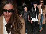 Picture Shows: Cruz Beckham, Romeo Beckham, Victoria Beckham  October 31, 2015\n \n Looks like there won't be any trick-or-treating in store for the Beckham family this Halloween! David and his wife Victoria caught a flight out of LAX Airport in Los Angeles, California with all four of their children.\n \n Non Exclusive\n UK RIGHTS ONLY\n \n Pictures by : FameFlynet UK © 2015\n Tel : +44 (0)20 3551 5049\n Email : info@fameflynet.uk.com
