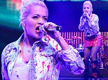 LONDON, ENGLAND - NOVEMBER 01:  Rita Ora performs with Sigma live at The Roundhouse on November 1, 2015 in London, England.  The duo were joined on stage by special guest Ora to perform 'Coming Home', from their forthcoming debut album 'Life', due for release on December 4, 2015.  (Photo by Claire Greenway/Getty Images)