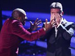 *** MANDATORY BYLINE TO READ: Syco / Thames / Corbis *** The X Factor Live Finals, London, Britain - 1 November 2015  Pictured: Anton Stephans, Simon Cowell, Bupsi Ref: SPL1166983  011115   Picture by: Syco/Thames/Corbis/Dymond