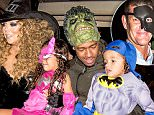 LOS ANGELES, CA - OCTOBER 31:  (EXCLUSIVE COVERAGE) (L-R) Musician Mariah Carey, Monroe Cannon, Nick Cannon, and Moroccan Cannon prepare to go Trick-Or-Treating at Mariah Carey's Festive Halloween Party at her Beverly Hills Airbnb home on October 31, 2015 in Los Angeles, California.  (Photo by FilmMagic/FilmMagic)