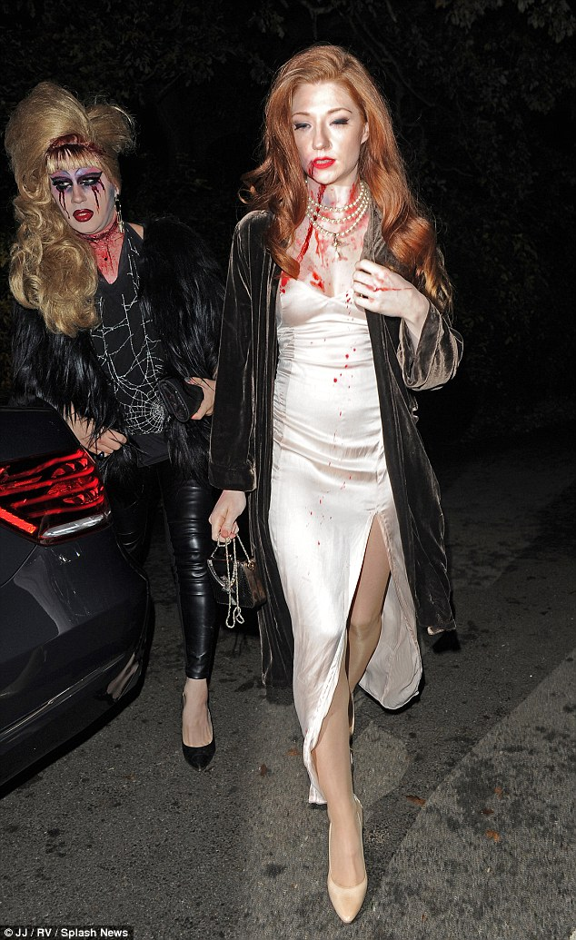 Scary lady: Former Girls Aloud star Nicola Roberts turned heads as a blood-splattered bride