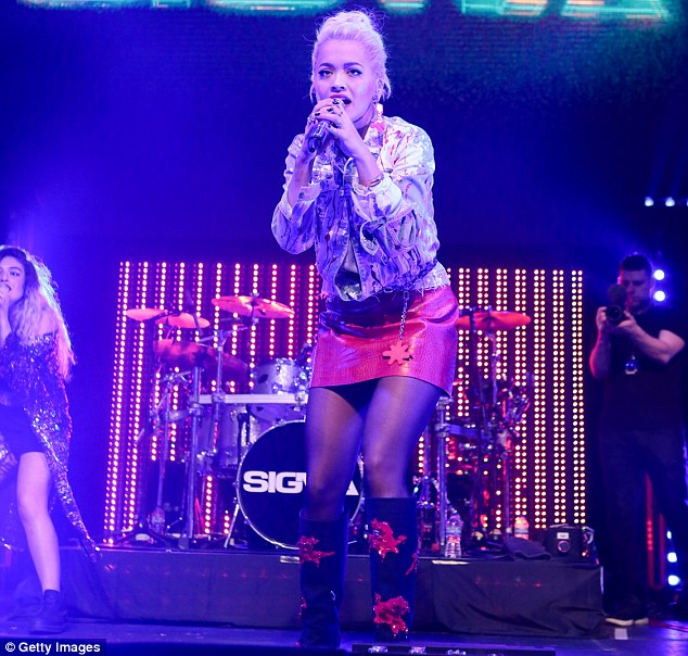 Born to perform: Rita Ora took to the stage at London's Roundhouse alongside Sigma shortly after The X Factor on Sunday evening