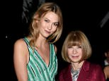 NEW YORK, NY - NOVEMBER 02: Karlie Kloss (L) and Vogue Editor-in-chief Anna Wintour attend the 12th annual CFDA/Vogue Fashion Fund Awards at Spring Studios on November 2, 2015 in New York City.  (Photo by Nicholas Hunt/Getty Images)