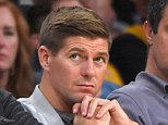 Los Angeles Galaxy's Steven Gerrard watches during the second half of an NBA basketball game between the Los Angeles Lakers and the Dallas Mavericks, Sunday, Nov. 1, 2015, in Los Angeles. The Lakers won 103-93. (AP Photo/Mark J. Terrill)