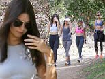 November 3, 2015: Kendall Jenner gets camera shy while out hiking with Hailey Baldwin and friends at Los Angeles, California.\nMandatory Credit: Fresh/INFphoto.com\nRef: infusla-284