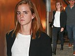 """11/01/2015 EXCLUSIVE: Emma Watson spotted at the """"Hamilton"""" musical on Broadway in New York City. The beautiful actress was spotted exiting the NYC Theater after a Sunday evening show. Emma took a break from filming her newest role in """"The Circle"""" co-starring Tom Hanks and stepped out in a navy blue cardigan and black jeans and black boots. Please byline:TheImageDirect.com *EXCLUSIVE PLEASE EMAIL sales@theimagedirect.com FOR FEES BEFORE USE"""