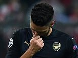 MUNICH, GERMANY - NOVEMBER 04:  Olivier Giroud of Arsenal looks dejected during the UEFA Champions League Group F match between FC Bayern Muenchen and Arsenal FC at the Allianz Arena on November 4, 2015 in Munich, Germany.  (Photo by Lars Baron/Bongarts/Getty Images)