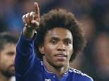 Chelsea's Willian celebrates goal 2-1 during the   EUFA Champions League Group  match between  Chelsea v Dynamo Kiev played at  Stamford Bridge Stadium, London, on November 4th 2015