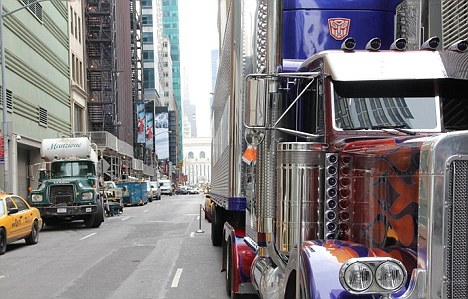 You can't park there: The Optimus Prime truck with what looks like a parking ticket clearly visible on the side
