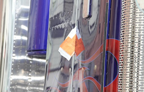 Ouch: A close-up of the orange ticket slapped on the enormous truck parked in midtown Manhattan