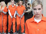 Picture Shows: Abigail Breslin, Emma Roberts, Skyler Samuel  November 05, 2015\n \n Stars are spotted filming scenes for 'Scream Queens' at a courthouse in New Orleans, Louisiana. During the scene, the cast were seen being escorted in shackles and orange jumpsuits from the courthouse.\n \n Non-Exclusive\n UK RIGHTS ONLY\n \n Pictures by : FameFlynet UK © 2015\n Tel : +44 (0)20 3551 5049\n Email : info@fameflynet.uk.com