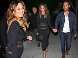 Beverly Hills, CA - John Legend and his pregnant wife Chrissy Teigen hold hands after a family dinner at MastroÌs Steakhouse in Beverly Hills. Chrissy was joined by her father, while John was accompanied by his grandmother. The SI Swimsuit model showed a slight baby bump beneath a sheer paneled black dress and matching strappy heels. AKM-GSI         November 4, 2015 To License These Photos, Please Contact : Steve Ginsburg (310) 505-8447 (323) 423-9397 steve@akmgsi.com sales@akmgsi.com or Maria Buda (917) 242-1505 mbuda@akmgsi.com ginsburgspalyinc@gmail.com