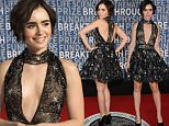 Mountain View, CA - Lily Collins arrives at the 3rd Annual Breakthrough Prize Award Ceremony at NASA Ames Research Center.\nAKM-GSI          November 8, 2015\nTo License These Photos, Please Contact :\nSteve Ginsburg\n(310) 505-8447\n(323) 423-9397\nsteve@akmgsi.com\nsales@akmgsi.com\nor\nMaria Buda\n(917) 242-1505\nmbuda@akmgsi.com\nginsburgspalyinc@gmail.com